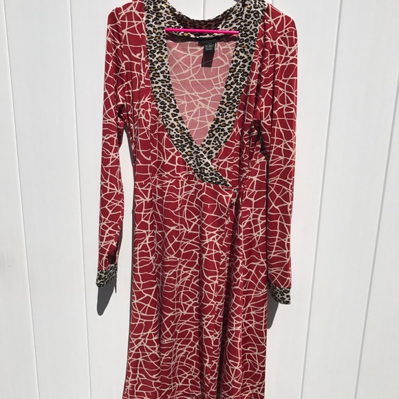 407a8517c27c3 BcbgMaxazria red animal print leopard wrap dress